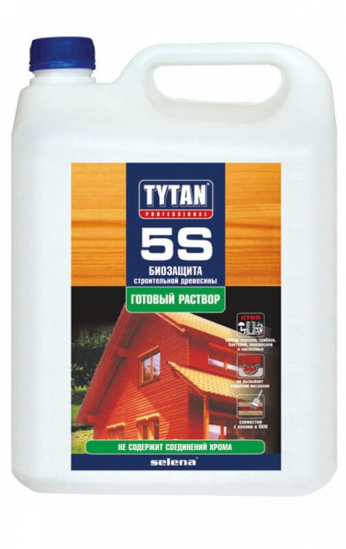 Биозащита строительной древесины Tytan 5S , бесцветная 1:9, 5л
