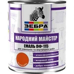 """Эмаль ПФ-115 Зебра """"Народный мастер"""", Синий тёрн, 0.9 кг"""