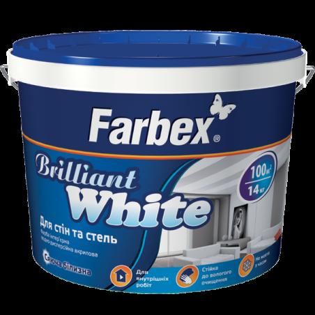 Краска для стен и потолков белоснежная Farbex Brilliant White, 7 кг