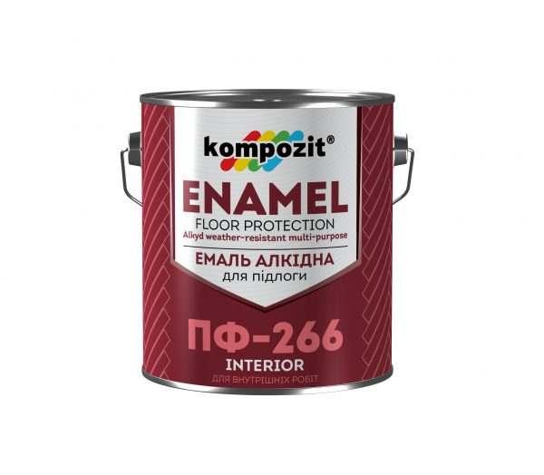 Эмаль для пола ПФ-266 Kompozit красно-коричневая, 2.8 кг