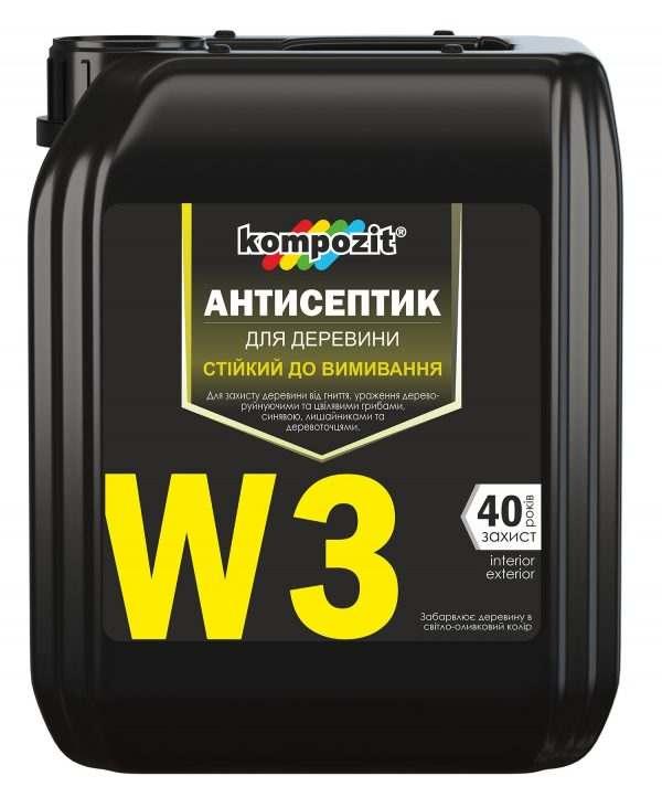 Антисептик трудновымываемый W3 Kompozit, 5 л