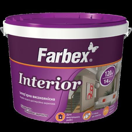 Краска интерьерная белая Farbex Interior (база А), 1.4 кг