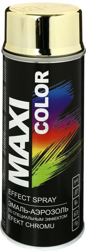 Декоративная аэрозольная эмаль Maxi Color 400 мл, Хром золото