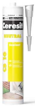 Универсальный силиконовый нейтральный герметик Ceresit CS 16 прозрачный, 280 мл