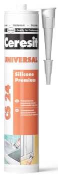 Универсальный силиконовый эластичный герметик Ceresit CS 24 белый, 280 мл