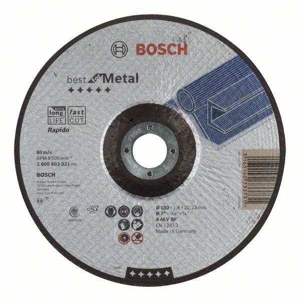 Отрезной круг Bosch Best по металлу 180×1,6, вогнутый, 2608603521