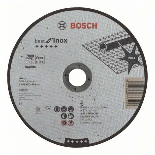 Отрезной круг Bosch Best по нержавейке 180×1,6, прямой, 2608603498