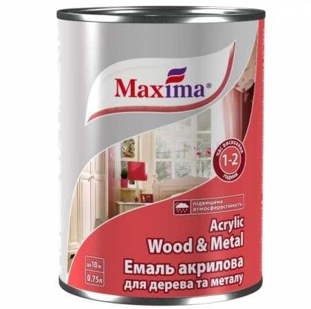 Эмаль акриловая для дерева и металла Maxima белая, 0.75 л