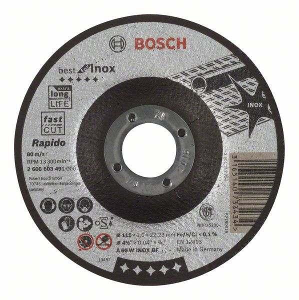 Отрезной круг Bosch Best по нержавейке 115×1,0, вогнутый, 2608603491