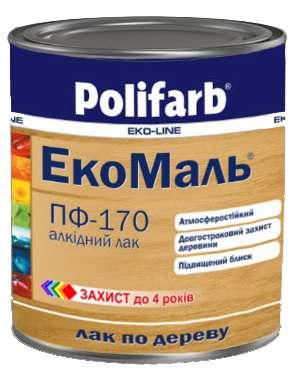 Лак Polifarb ЭКО ПФ-170 прозрачный для дерева,  0,8 кг