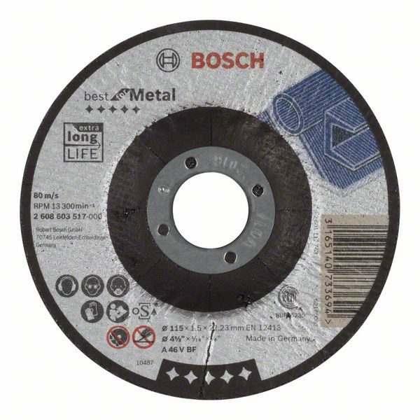 Отрезной круг Bosch Best по металлу 115×1,5, вогнутый, 2608603517