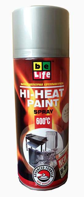 Аэрозольная жаростойкая эмаль Belife Hi-Heat Paint 400 мл, Серебро