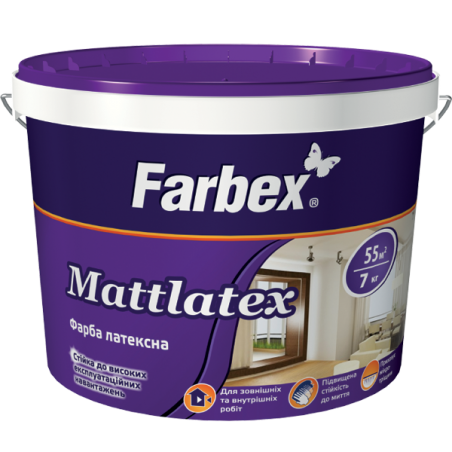 Краска латексная для внутренних работ Farbex Mattlatex, 1.4 кг