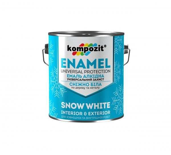 Эмаль алкидная снежно-белая Kompozit глянцевая, 0.9 кг