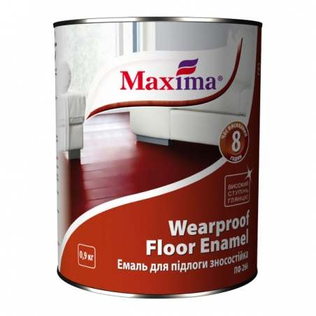 Эмаль для пола Maxima красно-коричневая, 0.9 кг