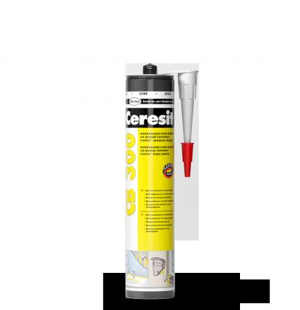 Клей-герметик монтажный Ceresit CB300, на полимере Flextek, 400 гр, белый