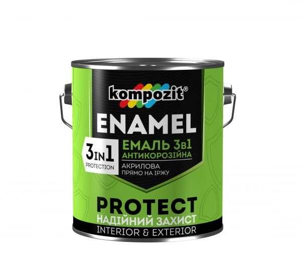 Kompozit Эмаль антикоррозионная 3 в 1 PROTECT (красно-коричневая), 2.7 кг