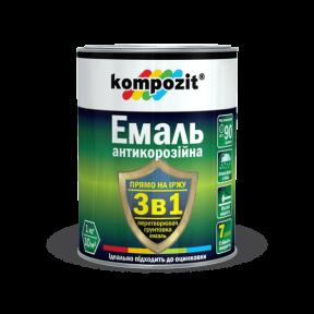 Эмаль антикоррозионная 3 в 1 Kompozit коричневая, 55 кг