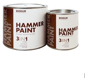 Краска для металла с молотковым эффектом Biodur 3 в 1, 2.1 л оксидно-красная 118