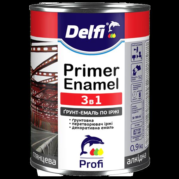 Грунт-Емаль по ржавчине 3 в 1 Delfi темно-коричневая, 0.9 кг