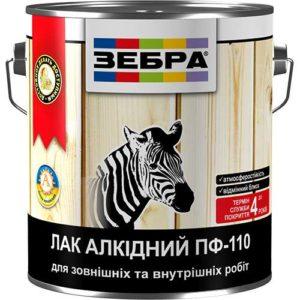 Лак алкидный ПФ-110 (глянцевый) ЗЕБРА, 0.8 кг