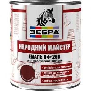 """Эмаль для пола ПФ-266 Зебра """"Народный мастер"""", Лесной орех, 0.9 кг"""
