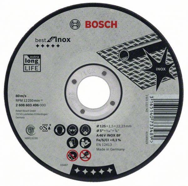 Отрезной круг Bosch Best по нержавейке 115×2,5, прямой, 2608603502