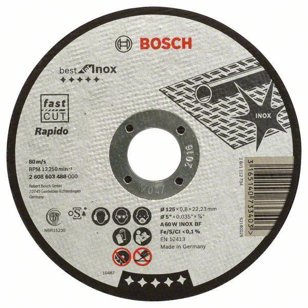 Отрезной круг Bosch Best по нержавейке 125×0,8, прямой, 2608603488